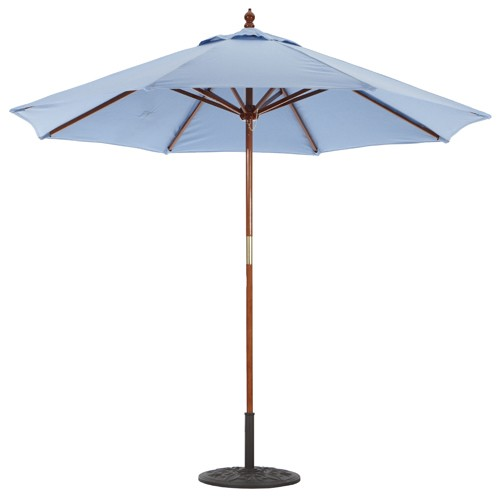 9' Deluxe Wood Market Umbrella with Dark Wood